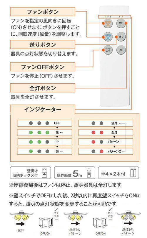 DP-35202G + DP-37981 + DP-35206 LED 電球色 4灯 DAIKO(ダイコー)製シーリングファンライト