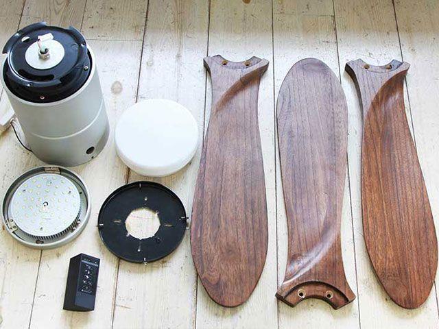 JE-CF004M SV + C-F01,JAVALO ELF Modern Collection REAL wood blades 大風量 LED 調光 電球色/昼白色 1灯 薄型 軽量 HANWA(阪和)ハンワ製シーリングファンライト