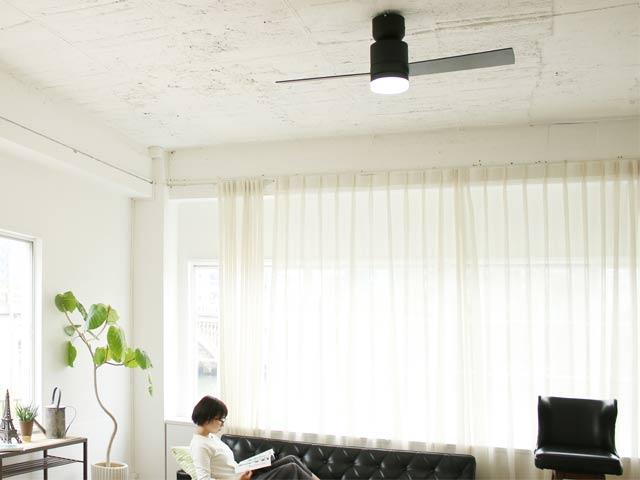 JE-CF005M-BK,JAVALO ELF Modern Collection 2blades style  LED 調光 昼白色 1灯 薄型 軽量 HANWA(阪和)ハンワ製シーリングファンライト