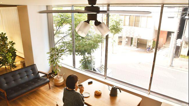 JE-CF014BR + LED133WW / LED133CWF,JAVALO ELF Modern Collection LED 電球色/昼白色 4灯 軽量 HANWA(阪和)ハンワ製シーリングファンライト