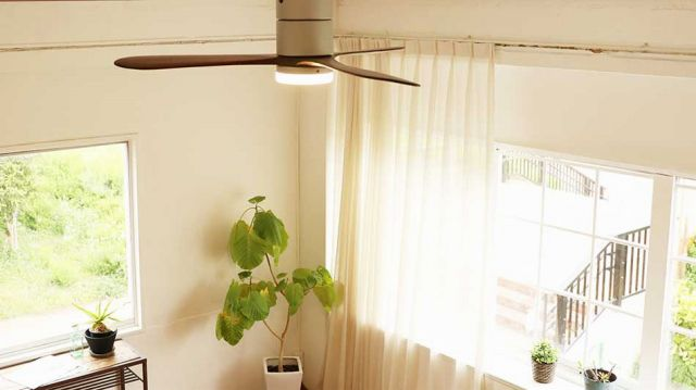 JE-CF017M SV,JAVALO ELF Modern Collection REAL wood blades  大風量 LED 調光 電球色 1灯 薄型 軽量 HANWA(阪和)ハンワ製シーリングファンライト