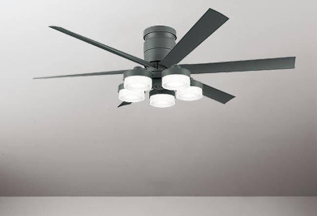 WF247 + WF270PC 大風量 LED 調光調色(電球色-昼白色) 5灯 薄型 ODELIC(オーデリック)製シーリングファンライト