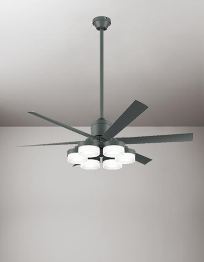 WF249 + WF269PC + WF739 大風量 傾斜対応 LED 調光調色(電球色-昼白色) 6灯 ODELIC(オーデリック)製シーリングファンライト