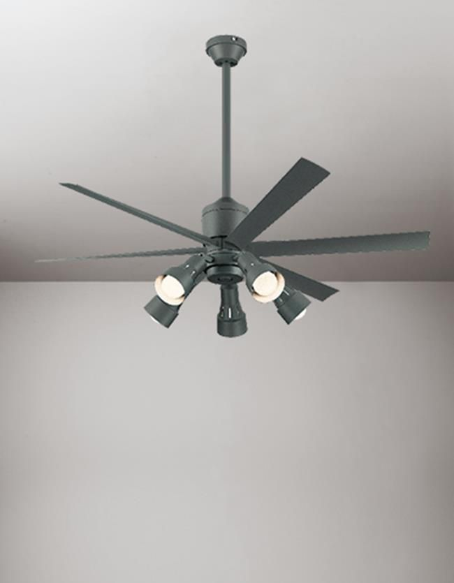 WF249 + WF280LC / WF280NC + WF738 大風量 傾斜対応 LED 調光 電球色/昼白色 5灯 ODELIC(オーデリック)製シーリングファンライト