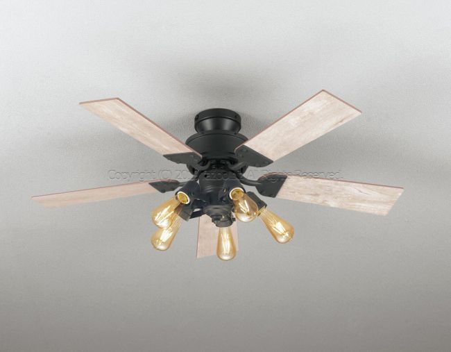 WF832 + WF835LC LED 調光 電球色 5灯 薄型 軽量 ODELIC(オーデリック)製シーリングファンライト