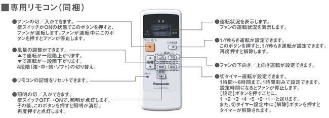 XS9020/SP7090 + SPK024 大風量 傾斜対応 軽量 Panasonic(パナソニック)製シーリングファン